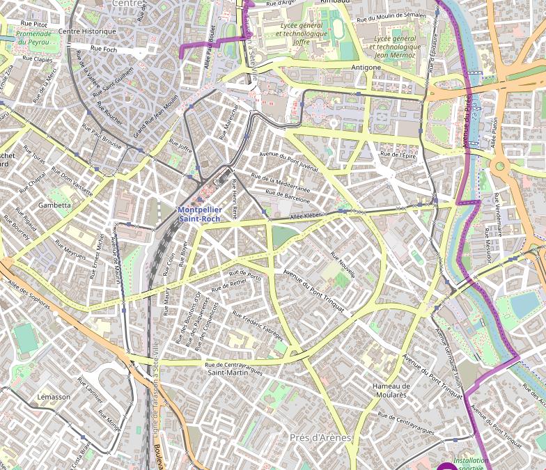 le trajet vers le parc de La Rauze à vélo